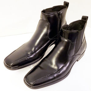 Stacy Adams Black Leather Zip Stretchy Boots